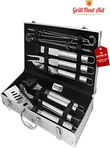 Stainless Steel BBQ Smoker Accessories - Premium 12 Piece Barbecue Tool Set