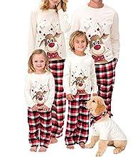 WANGSCANIS Conjunto de Pijamas Navideños para Familia Padre Madre Bebé 2 Piezas Camiseta de Manga Larga + Pantalones Largos a Cuadros Estampado de Alces Navidad (Alce Blanco , (Hombre) S)