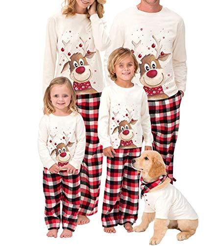 WANGSCANIS Conjunto de Pijamas Navideños para Familia Padre Madre Bebé 2 Piezas Camiseta de Manga Larga + Pantalones Largos a Cuadros Estampado de Alces Navidad (Alce Blanco , 4-5 años)