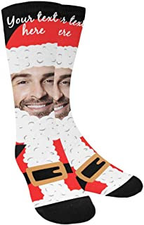 Custom Face on Socks, Custom Text Santa Claus Christmas Socks with Personalized Faces on Them