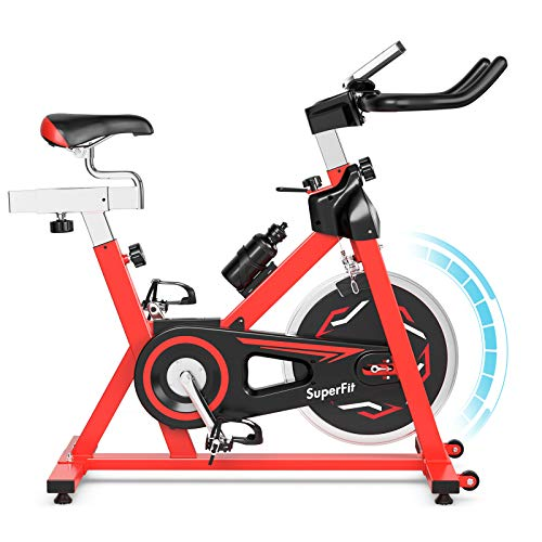 GYMAX Indoor Exercise Bike, 30 LBS Flywheel Adjustable Stationary Cycling Bike with LCD Monitor & Water Kettle, Belt Drive Cardio Training Bike for Home Gym
