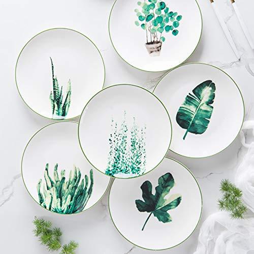 XQJDD Vajilla de cerámica Vegetal Pintada a Mano. 20cm