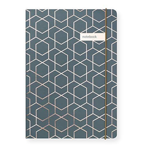 Matilda Myres Notizbuch - A5 Liniert - Grau mit Rotgold