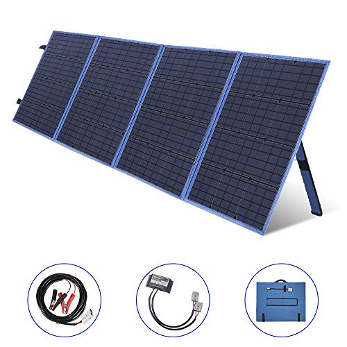 MEGSUN 200W 12V Foldable Solar Panel Kit Monocrystalline Solar Panel Charger with USB Device Solar Charge Controller for Camper, Motorhome Rallies, Mobile Offices 12V System (Blue)