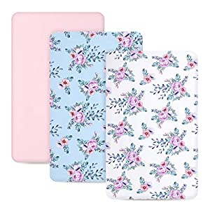 crib bedding and baby bedding tillyou 3 pack jersey knit stretchy pack n play ftted mattess sheets, thicker softer mini crib sheets set for baby boys girls, ultra-soft breathable playard playpen sheets, floral flowers