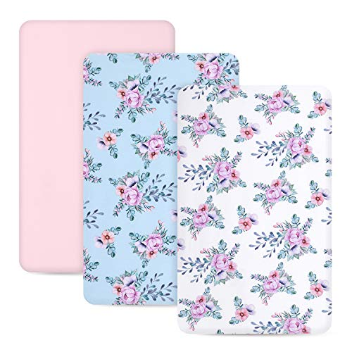 TILLYOU Jersey Knit Floral Mini Crib Sheets, 170 GSM Thicker Softer Pack N Play Sheets Set for Girls, Ultra-Soft Breathable Playard Playpen Sheets, Secret Garden