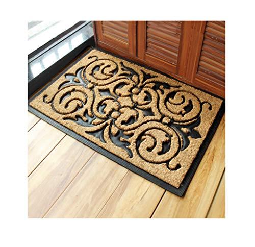 Hcxbb-e deurmat van rubber en kokosnoot, natuurlijke vezels, deurmat voor buiten, houdt vloeren, decoratief design - 60 x 90 cm