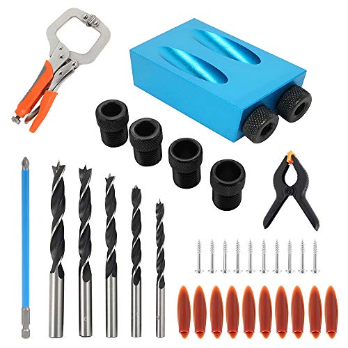 35PCS Pocket Hole Screw Jig, Dowel Drill Joinery Kit Woodworking Angle Drilling Guide Angle Tool Kit for Woodworking Angle Drilling Guide (10)