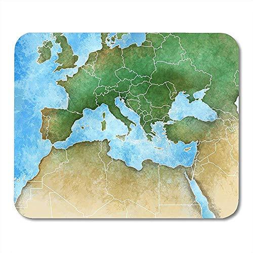 Mausepad Aquarell Frankreich Karte Des Mittelmeer Europa Afrika Und Mittlerer Osten Algerien Mauspad 25X30Cm