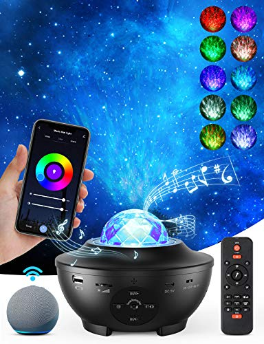 Galaxy Projector Star Projector Skylight Night Light for Bedroom Sky Lite Projector with Music Speaker and Remote Control,3 in 1 Star Projector Work with Alexa,Google Assistant for Adults and Kids