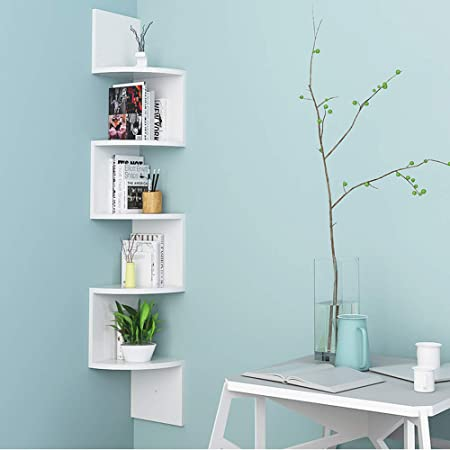 Turefans Estanterías Librería de Pared Estantería de Esquina Juego de 5 Estantes para Libros,123 * 20 * 20 cm (Blanco)