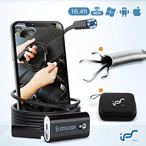Endoskopkamera,Endoskop WiFi HD 2.0 MP Inspektionskamera wasserdichte USB Kamera mit Flexible Pick up Tool endoskop-Kamera für Android, IOS, iPhone 16.4FT