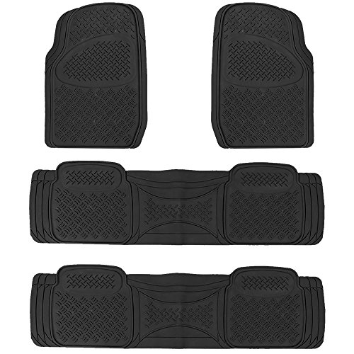 U.A.A. INC. Heavy Duty MT-9024 Rubber Floor Mats Universal Car Truck SUV (Black)