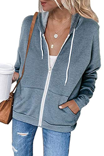 Maavoki Damen Zip Hoodie Langarm Kapuzenpulli Fleece Outwear Jacken Herbst Winter Sweatjacke