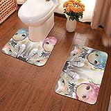 Lindsay Gosse Juego de alfombras de baño de 2 Piezas Re Zero Alfombras De Baño, Juegos De Contorno para Bañera, Ducha Y Baño