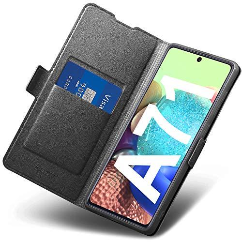 Funda Samsung Galaxy A71, Funda Samsung A71 Libro, Carcasa A71 con Cierre Magnético, Tarjetero y Suporte, Capa Plegable Cartera, Flip Phone Cover Case, Tipo Étui Piel, PU TPU Protección. Negro