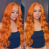 Orange Ginger Color Wavy Lace Front Wigs Human Hair 13X4 Brazilian Lace Front Human Hair Wigs Pre Plucked With Baby Hair For Women 150 Density (22inch)