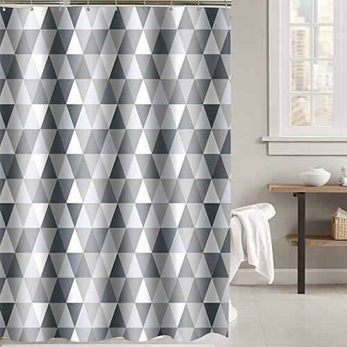 i@HOME Duschvorhang Anti-Schimmel Duschvorhäng Wasserabweisend Shower Curtains Waschbar Anti-Bakteriell Duschvorhänge aus Polyester Badvorhang mit 12 Duschvorhängeringen (Dreieck, 240 x 200 cm)