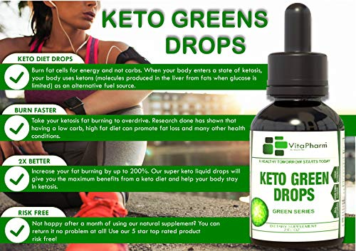 Keto Green Drops by VitaPharm Nutrition | Advanced Diet Drops for Men and Women | Simply Works with All Diets Including Keto (Ketogenic) to Speed Up Ketosis | Ultra High Potency 2 Fl oz 5