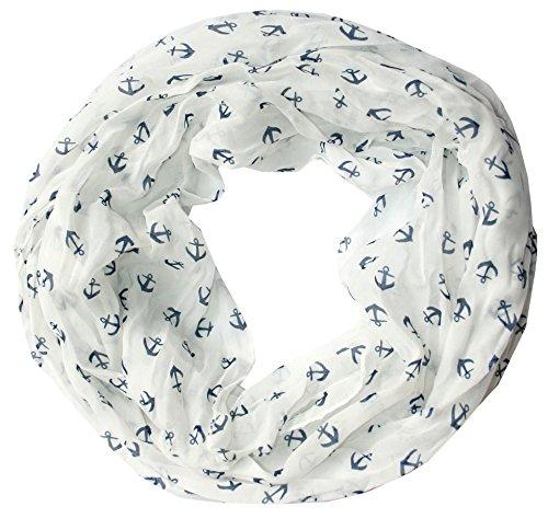 Anker Marine Damen Seide Loop Schal Seidenschal Seidenschals Schlauchschal Tuch Seidentuch (weiß)