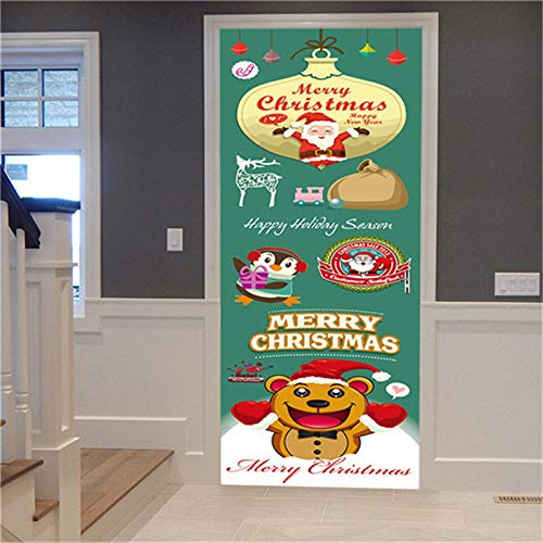 Door Stickers Decor 83x204cmChristmas Poster Removable Door Mural Home Decoration Wall Art Murals Decals Living Room Nursery Restaurant Hotel Café Office Décor Self-Adhesive Stickers