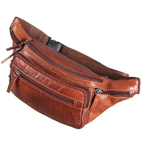 STILORD 'Zion' Vintage Gürteltasche Echtleder als Bauchtasche Umhängetasche oder Brusttasche Cross-Body Bag Hüfttasche Männer Damen Handy Festival Leder, Farbe:Brandy - braun