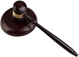 Wood Gavel Mallet Hammer Set, Wooden Gavel and Sound Block Unique Craft Gifts Toys for Auction Sale Lawyer Judge