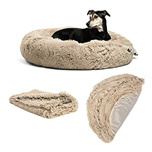 Best Friends by Sheri The Original Calming Donut Dog Bed in Shag Fur – Bundle Value: Bed + Additional Shell Cover + Pet Throw Blanket, Taupe, Large 36″ x 36″ (BND-BTS-SHG-TAU-36MD)