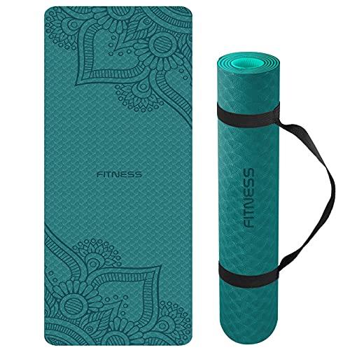 Yogamatte, TPE Gymnastikmatte rutschfest Fitnessmatte für Workout Umweltfreundlich Übungsmatte Sportmatte für Yoga, Pilates Heimtraining, 183 x 61 x 0.6CM (Darkgreen)