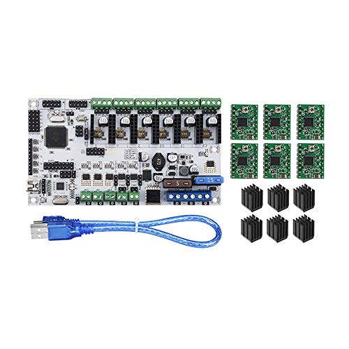 QuRRong 3D Printer Mainboard 3D Printer Upgraded 12V Rumba Plus Integrated Mainboard Control Board with 6xA4988 Stepper Driver for Connection and Operation (Color : Black, Size : One size)