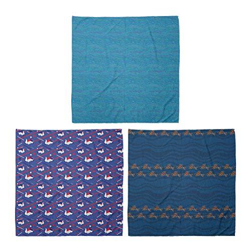 ABAKUHAUS Pack de 3 Bandanas Unisex, Las olas del océano inusuales River Arte Origami cisnes Seigaiha bajo el agua Peces de vida silvestre, Multicolor
