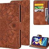 DodoBuy Hülle für Huawei Y6 2019/Y6s//Honor 8A, Mandala Muster Magnetische Flip Cover PU Leder Schutzhülle Handy Tasche Brieftasche Wallet Hülle Ständer mit Kartenfächer - Braun