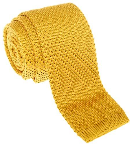 Retreez Herren Schmale Krawatte Strickkrawatte Knit Tie Vintage Smart Casual 5 cm - gold