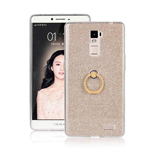 tinyue® Etui Schutzhülle Für Oppo R7 Plus (6zoll) Superdünne TPU-Schutzhülle aus weichem Silikon Mit Fingerring, Flash-Pulver zurück Design-Handyhülle, Gold