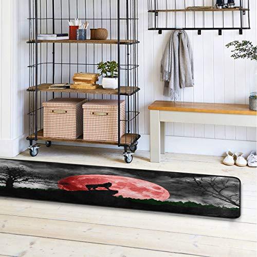 Alfombra de baño Mnsruu con diseño de lobo aullando en la luna roja