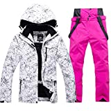 RIUIYELE Fashion Women's High Waterproof Windproof Snowboard Colorful Printed Ski Jacket and Pants