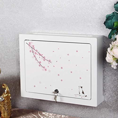 GIOAMH Organizador de la caja de alambre, estante flotante del decodificador del router de Wifi de la sala de estar del dormitorio del estante,Blanco-d,Los 48cm