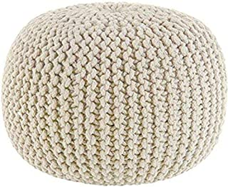 Hand Knitted Cable Style Dori Pouf - Ivory - Floor Ottoman - 100% Cotton Braid Cord - Handmade & Hand Stitched - Truly one of a Kind Seating - Dia 50 cm x H 35 cm