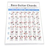lovermusic 30.3x21.6cm White Copper Sheet Guitar Chord Chart Replacement for 4 Strings Bass Guitar