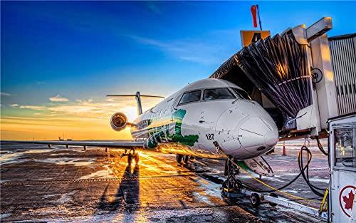XHJY Flygplan flygplats vuxen pussel 3D pussel gör-det-själv fritid heminredning kreativ konst färgglada pussel 1 000 stycken (75 x 50 cm)
