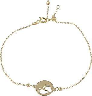 """Gioiello Italiano - Bracciale""""Piedi"""" in oro giallo 14kt, lunghezza regolabile tra 11 e 20cm, da donna"""