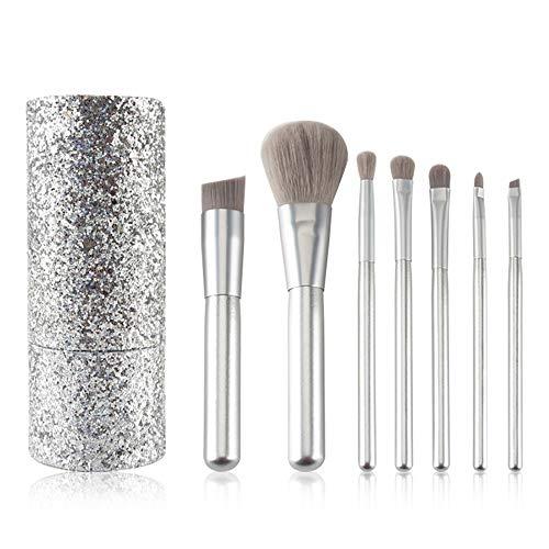 Hojkl Maquillage Brosses 7pcs Pinceau Fond de Teint Blush Correcteurs Cosmétiques Yeux avec étui Set Cosmétique (Color : Silver, Size : 7 Pcs)