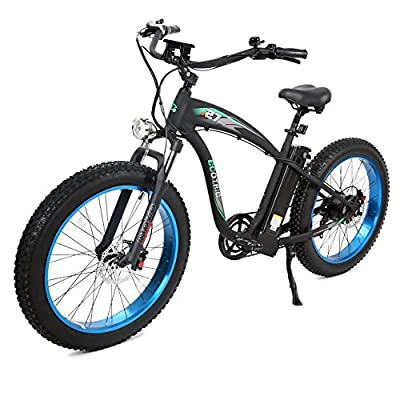 """ECOTRIC Powerful Fat Tire Electric Bicycle 26"""" Aluminium Frame Suspension Fork Beach Snow Ebike Electric Mountain Bicycle 1000W Motor 48V 13AH Removable Lithium Battery"""