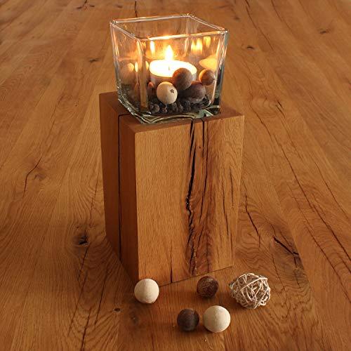 GREENHAUS Windlichtsäule 13x13x20 cm Eiche Handarbeit und Massivholz aus Deutschland Windlicht Säule Holz Laterne Dekosäule
