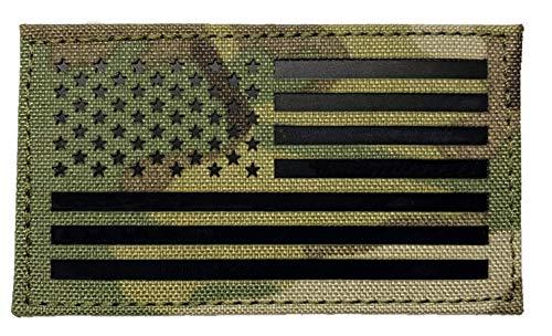 Infrarot-IR-amerikanische Flagge in Multicam – Taktische Morale Patch mit Hakenverschluss – 5,1 x 8,9 cm Forward multicam