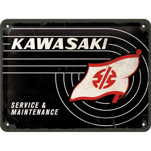 Nostalgic-Art Cartel de chapa retro Kawasaki – Tank Logo – Idea de regalo para los aficionados a las motos, metálico, Diseño vintage, 15 x 20 cm