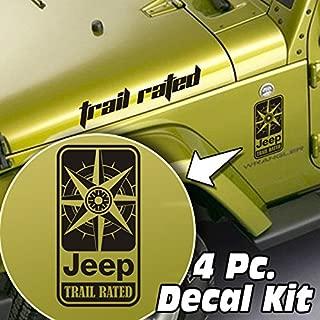 SkunkMonkey - Jeep Wrangler LJ TJ JK JKU 4 Piece Side Hood & Fender Decal Kit - Trail Rated Compass - Matte Black Stickers