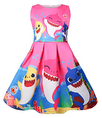 AOVCLKID Toddler Girls Baby Princess Dress up Shark Cartoon Print Party Gown Dress (Rose,90/1-2Y)
