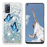 Miagon Flüssig Hülle für Oppo A52/A72/A92,Glitzer Treibsand Handyhülle Glitter Quicksand Schutzhülle Bumper Case Cover,Blau Schmetterling