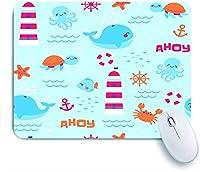 ECOMAOMI 可愛いマウスパッド かわいい海の生物と航海の要素 滑り止めゴムバッキングマウスパッドノートブックコンピュータマウスマット